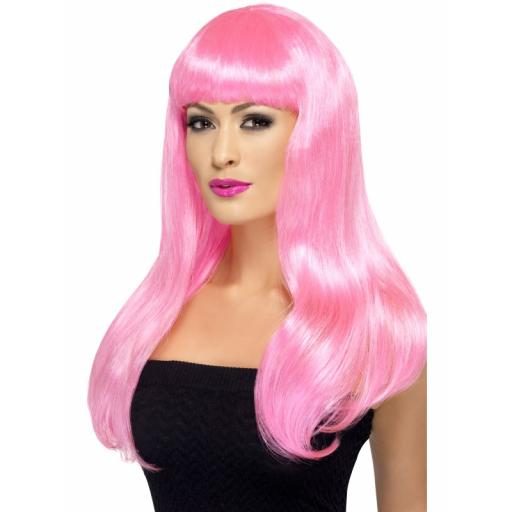 Babelicious Wig Straight Pink Long with Fringe