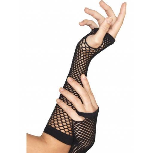 Fishnet Gloves, Long, Black
