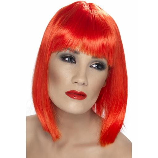Glam Wig Neon Red Short Blunt with Fringe