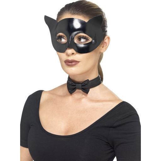Black Wet Look Kat Kit Mask & Collar