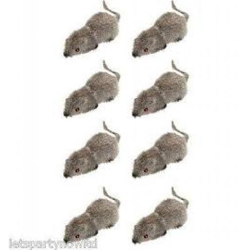 Packet of 8 Hairy Small Mice 6x2.5cm
