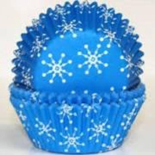 PME Frozen Themed Blue Snowflake Baking Cases 60ct