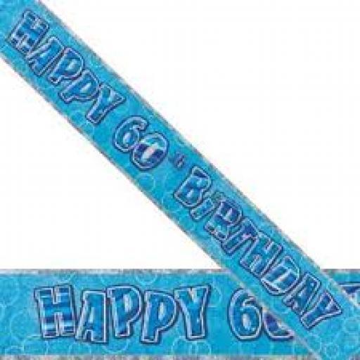 Blue Prizmatic H 60th Birthday Banner 3.6M