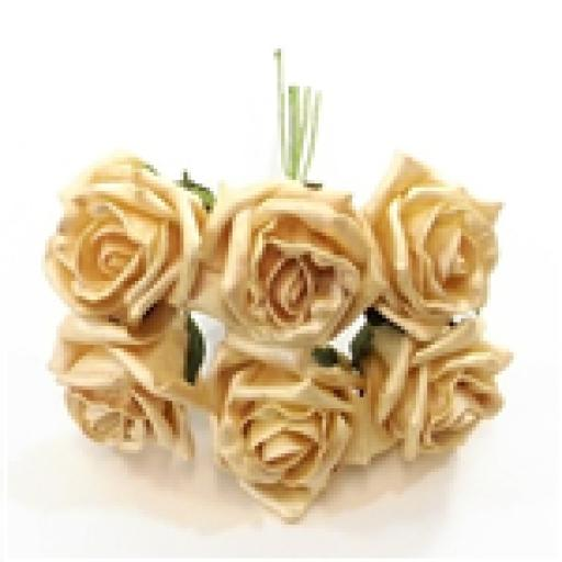 Princess Foam Rose Bunch of 6 Pearlised Gold Head Approx Size 6cm