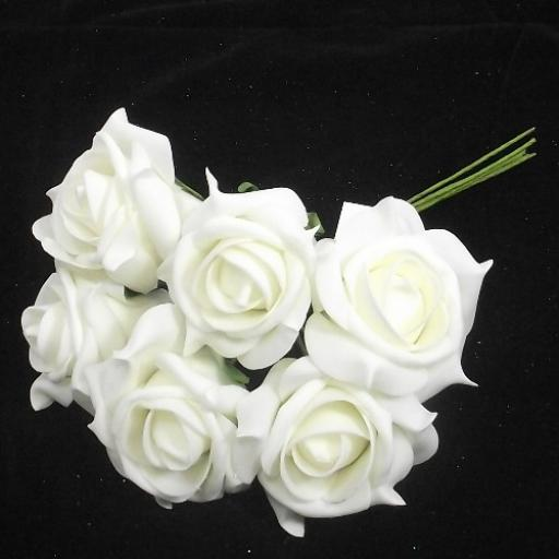 Foam Noble Rose 6 in a bunch Head 7cm approx White