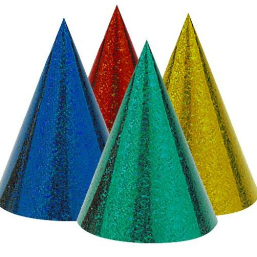 Prismatic Paper Cone Hats Assorted (pack quantity 8)