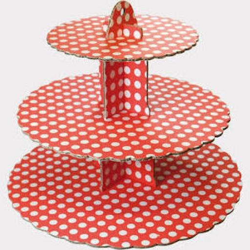 Three Tier Red & White Spot Cupcake Stand