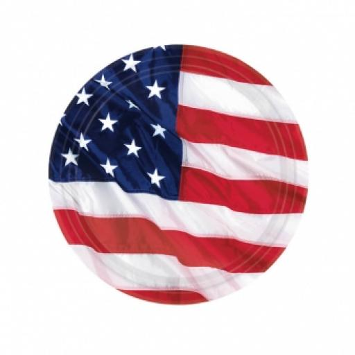 USA Flying Colours Paper Plates 17.7cm 8ct