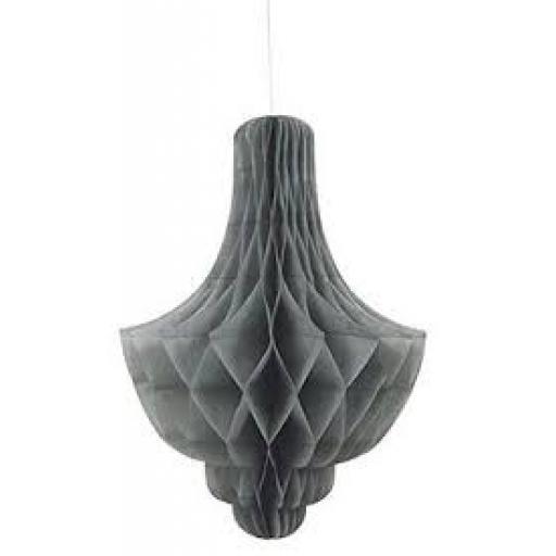 Honeycomb Paper Chandalier Decoration Grey 14 inc