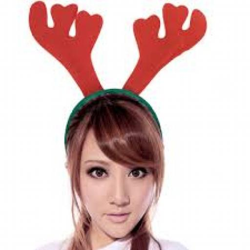 Felt Antler Headband Red & Green