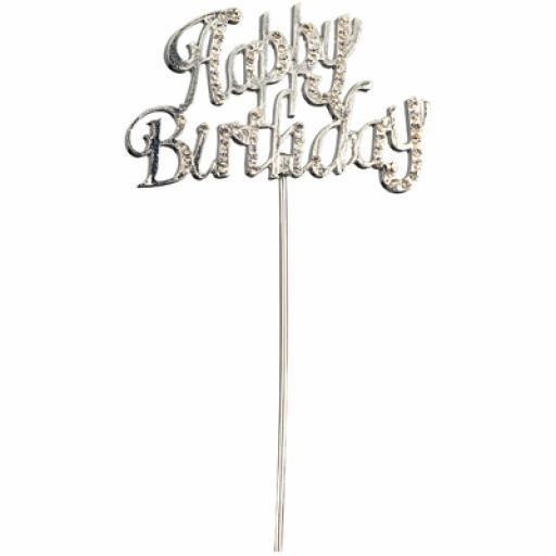 Diamante Happy Birthday Cake Topper Decoration