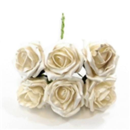 Princess Foam Rose Bunch of 6 Pearlised White Head Approx Size 6 cm