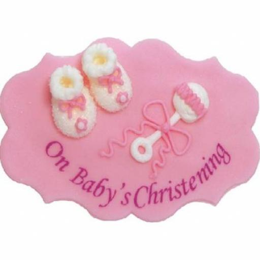 On Babys Christening Sugar Plaque Pink