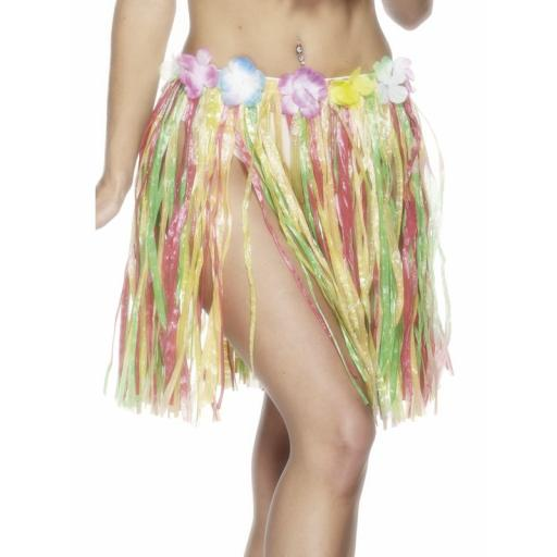Hawaiian Hula Skirt, Multi-Coloured, with Flowers, Elasticated Waist, 46cm/18 inches