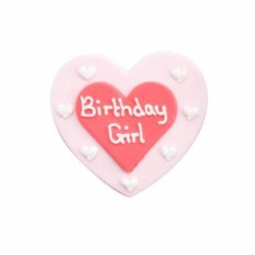 Sugar Plaque Birthday Girl On Red & Pink Heart