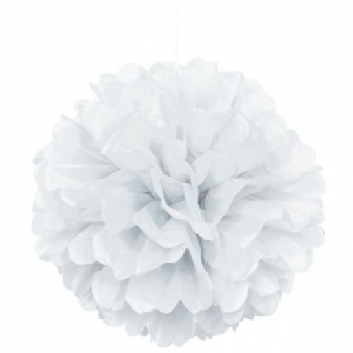 Puff Ball Paper Decoration 16 inch White