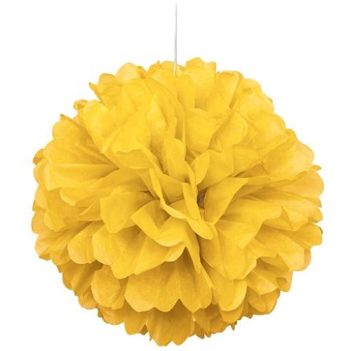 Puff Ball Paper Decoration 16 inch Sun Yellow