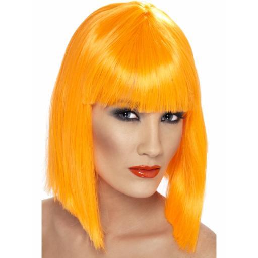 Glam Wig Short Blunt with Fringe Neon Orange