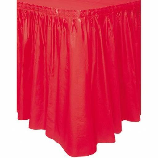 Plastic Red Table Skirt 73cm x 426 cm