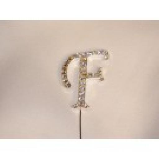 Diamante Letter F Cake Topper Decoration