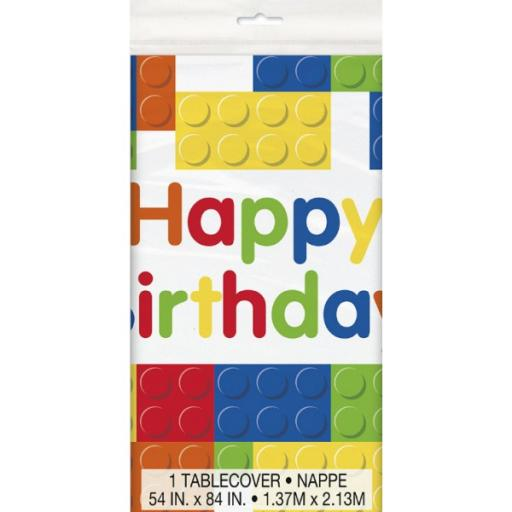 Building Blocks Birthday Tablecover 54x84 inch