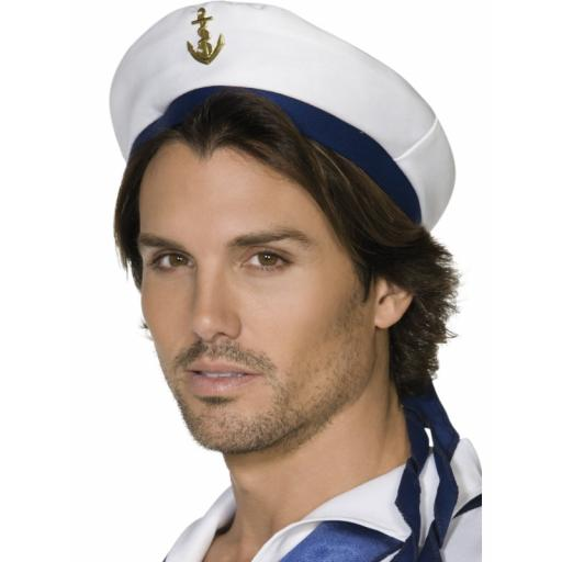 Sailor Hat White with Blue Band and Gold Anchor