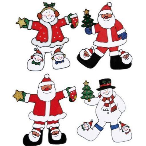 Christmas Window Sticker Decoration 4 Assorted Character 22cm