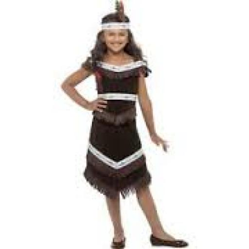 Indian Girl Fringed Dress & Feather Headband SMALL