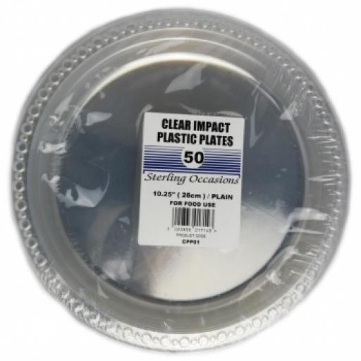 "Heavy Clear Plain Plates 10""-50/pkg"