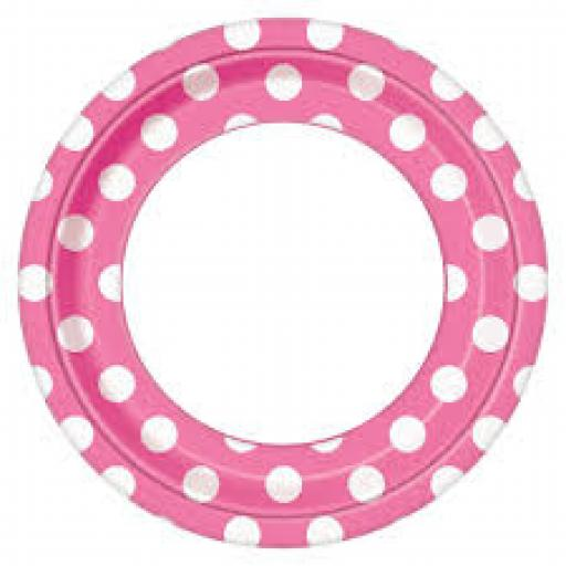Round Plates 8.5 inch 8ct Hot Pink Dots