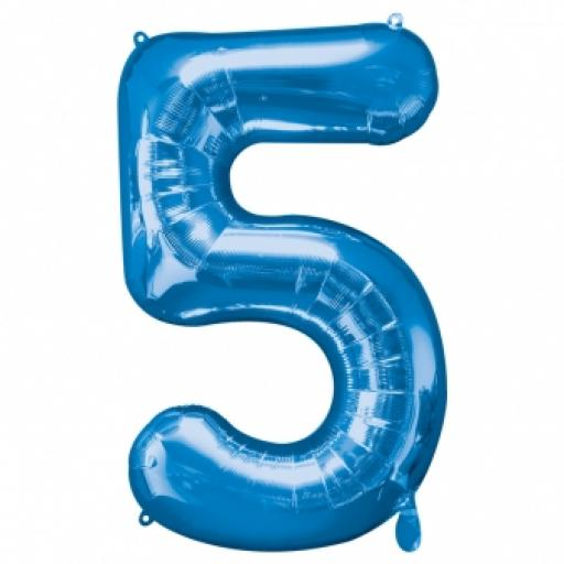 Number 5 Blue SuperShape Foil Balloon 34 inch