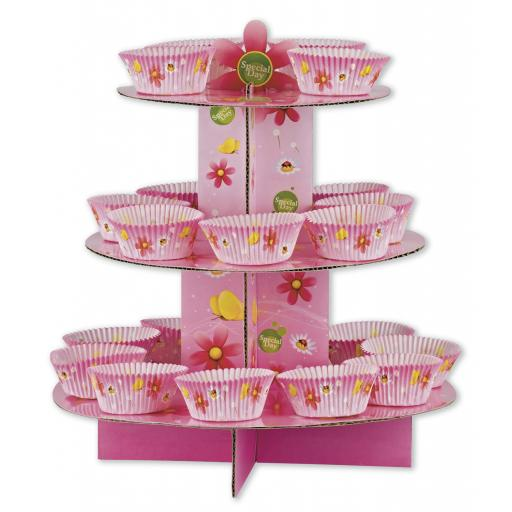 Funky Flower Cupcake Stand Kit 24pcs