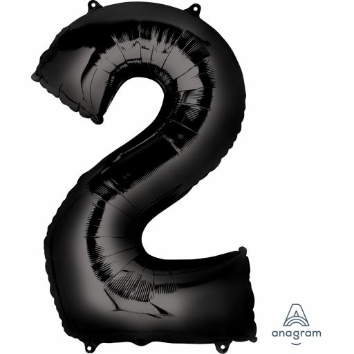 "Number 2 Black SuperShape Foil Balloons 22""/55cm w x 33""/83cm"