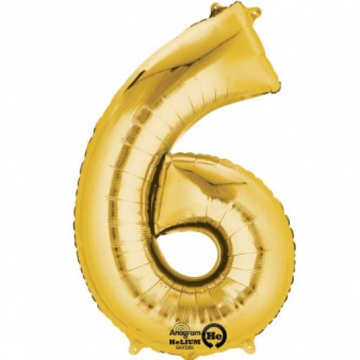 "Number 6 Gold SuperShape Foil Balloons 23""/58cm w x 35""/88cm"