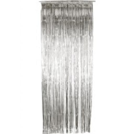 Silver Foil Shimmer Door Curtain 92cm x 244cm