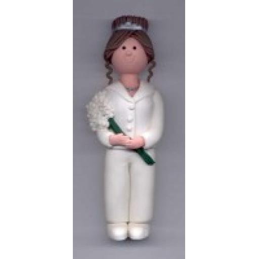 Claydough Brown Bride in white Trouser Suit