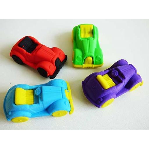 Classic Car Eraser 4.6 cm 4 For £1 Party Bag Filler 4 assorted colour
