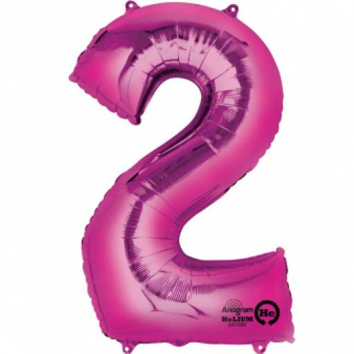 34 inch Number 2 Pink Super Shape Foil Balloon