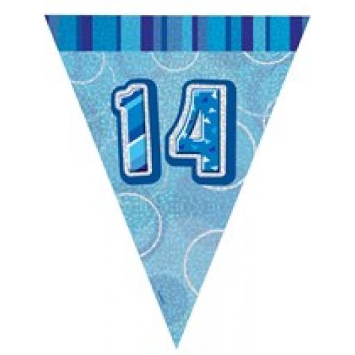 Blue Glitz Flag Banner 14th Birthday 9Ft Long