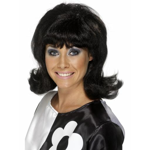 60s Flick Up Wig Black Short