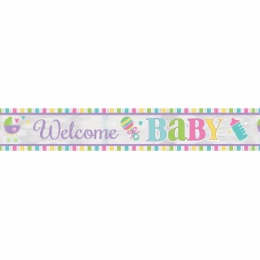 Welcome Baby Foil Banner 25 Feet
