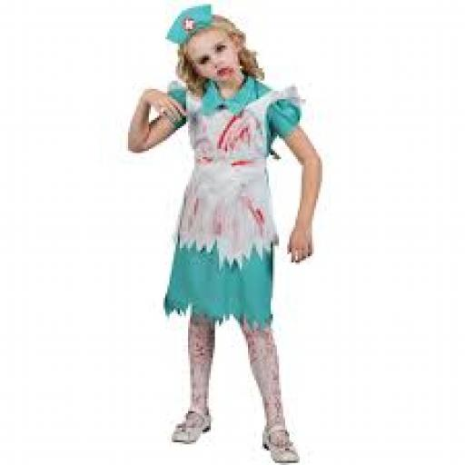 Zombie Nurse Child Dress Apron Headpiece