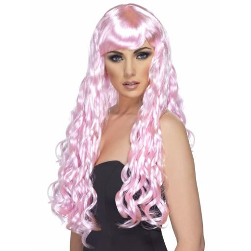 Desire Wig Candy Pink Long Curly with Fringe