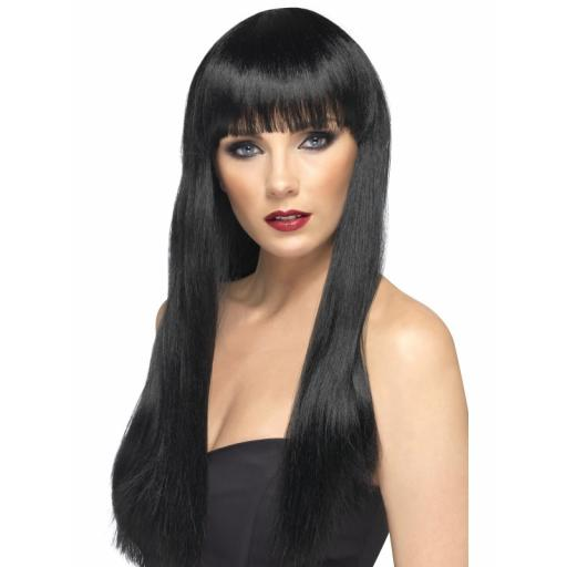 Beauty Wig Black Long Straight with Fringe