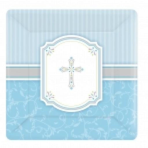Blessings Blue Square Plates 17.8cm x 8pcs