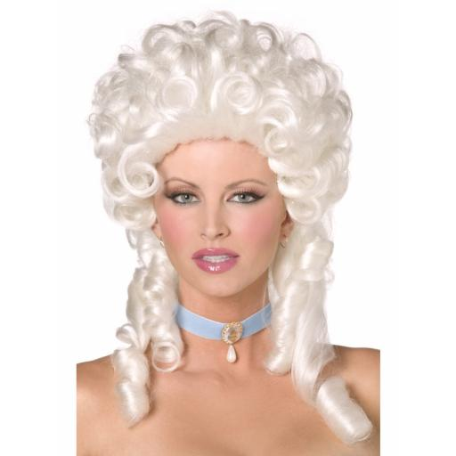 Baroque Wig White Shoulder Length with Ringlet Cur