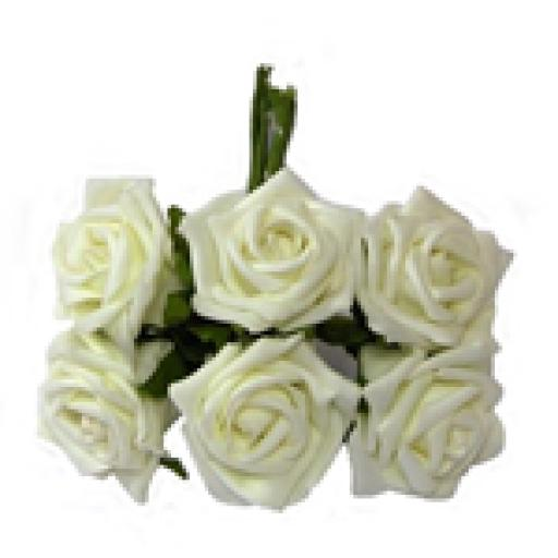 Foam Rose Bunch Ivory 6 heads 5.5cm