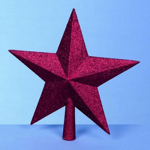 25cm Glitter Tree Top Star Red