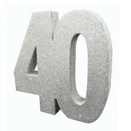 Silver Glitter Number Table Decoration - Age 40