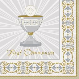 Radiant Cross Silver & Gold Communion Luncheon Napkins 16ct 2ply